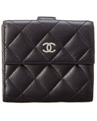Chanel - Black Quilted Lambskin Leather Bifold Wallet - Lyst