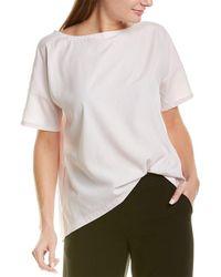 Eileen Fisher Bateau Neck Top - White