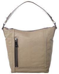 Frye Lena Leather Zip Hobo Bag - Grey