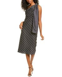 Theory One-shoulder Chain Silk Midi Dress - Black