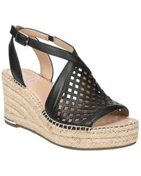 Franco Sarto Celestial Leather Wedge Sandal - Black