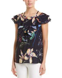 1cbd4e3dce3 Parker Elana Ruffled Floral-print Cold-shoulder Silk Top in Black - Lyst