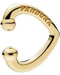 PANDORA 18k Over Silver Open Heart Ear Cuff - Metallic