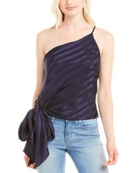 Michelle Mason One-shoulder Silk Top - Black