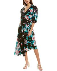 Diane von Furstenberg Audrina Jacquard Asymmetrical Wrap Dress - Black