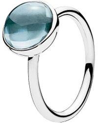 PANDORA - Silver & Aqua Blue Crystal Poetic Droplet Ring - Lyst