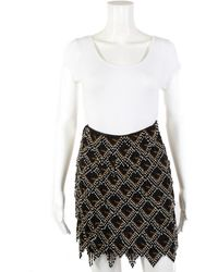 Fendi Zucca Beaded Leather Mini Skirt, Size 36, Never Worn - Multicolour