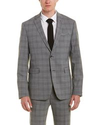 Original Penguin Skinny Fit Wool-blend Suit With Flat Front Pant - Gray