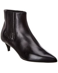 Celine Sharp Leather Bootie - Black