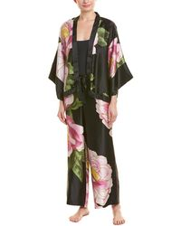 Josie Natori Clair De Lune Silk Robe - Black