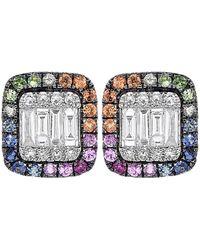 Diana M. Jewels . Fine Jewellery 14k 0.79 Ct. Tw. Diamond & Sapphire Earrings - Multicolour
