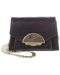 BCBGMAXAZRIA Isabella Lizard-embossed Leather Clutch - Black