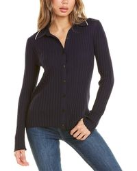 Theory Regal Button-down Wool-blend Polo Sweater - Blue