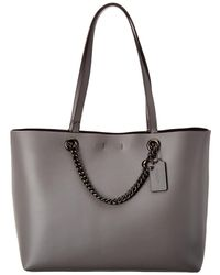 COACH - Signature Chain Convertible Leather Tote - Lyst