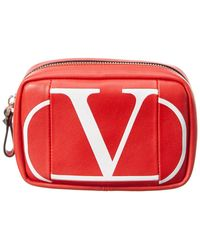 Valentino Vlogo Leather Pouch - Red