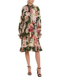 Dolce & Gabbana Floral Silk A-line Dress - Black