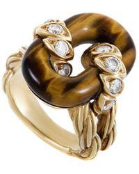Van Cleef & Arpels Vintage Van Cleef & Arpels 18k 5.48 Ct. Tw. Diamond & Tiger's Eye Ring - Metallic