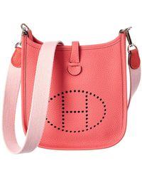 834f09748c8c Lyst - Hermès Clemence Leather Evelyne Tpm Shoulder Bag Rouge ...