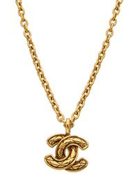 Chanel Gold-tone Quilted Cc Necklace - Metallic