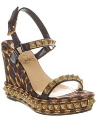 Christian Louboutin Pira Ryad 110 Leather Wedge Sandal - Brown