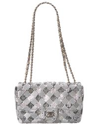 Chanel - Limited Edition Silver Sequins Small Half Flap Bag - Lyst