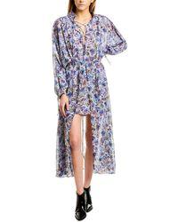 IRO Wye Floral High-low Blouson Maxi Dress - Blue