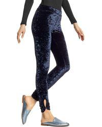 Hue Keyhole Crushed Velvet Leggings - Blue