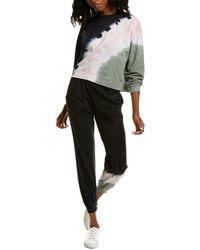 Lea & Viola 2pc Tie-dye Sweatshirt & Jogger Pant Set - Black