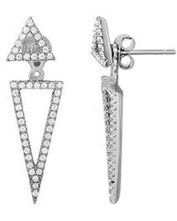 Adornia Silver Crystal Triangle Earring Jacket - Metallic