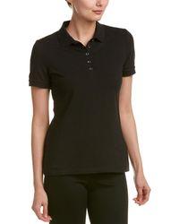 Burberry Check Trim Stretch Cotton Pique Polo Shirt - Black