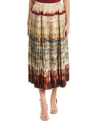 Valentino Pleated Wool & Silk-blend Midi Skirt - Brown