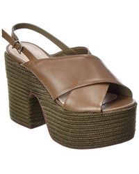 Schutz S-atria Leather Wedge Sandal - Green