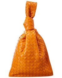 Bottega Veneta Bv Twist Intrecciato Leather Clutch - Orange