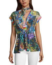 Robert Graham Kylie Tropical Print Silk Shirt - Blue