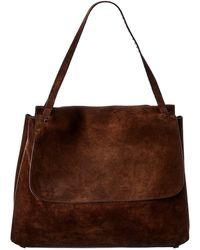 The Row Top Handle 14 Suede Shoulder Bag - Brown
