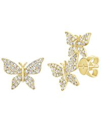 Sabrina Designs 14k 0.35 Ct. Tw. Diamond Butterfly Mismatched Studs - Metallic