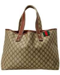ecf3ee6c580 Gucci Brown Gg Supreme Canvas   Leather Bree Tote in Brown - Lyst
