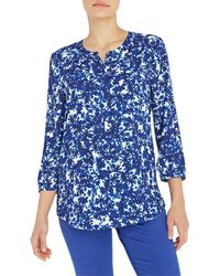 NYDJ Petite Pleatback Top - Blue