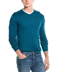 Greyson Guide Merino-blend V-neck Jumper - Green