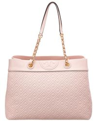 Tory Burch - Fleming Triple Compartment Leather Tote - Lyst 74dee8bf48