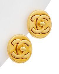 Chanel Gold-tone Round Cc Medium Clip-on Studs - Metallic