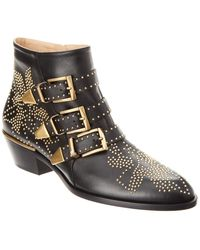 Chloé Susanna Leather Studded Booties - Black