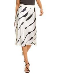 ATM Charmeuse Silk Tie-dye Stripe Midi Skirt - White