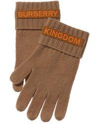 Burberry Logo Applique Cashmere Gloves - Brown