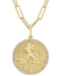 Sabrina Designs 14k 0.21 Ct. Tw. Diamond Zodiac Aquarius Necklace - Metallic