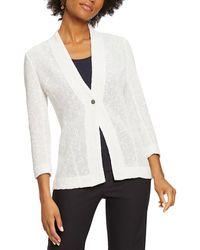 NIC+ZOE Linen-blend Cardigan - White