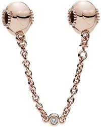 PANDORA Rose Cz Embossed Hearts Safety Chain - Metallic