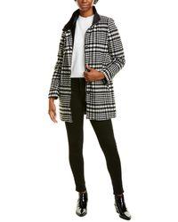 Kensie Houndstooth Coat - Black