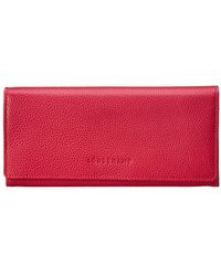Longchamp Le Foulonne Leather Continental Wallet - Red