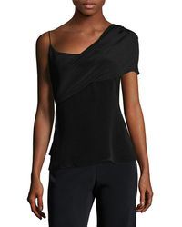 Cushnie et Ochs Silk Draped Shoulder Top - Black